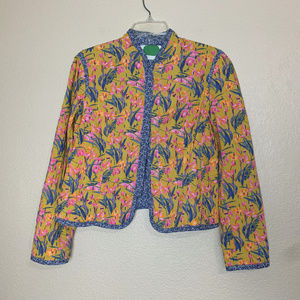 Anthropologie Yellow Floral Waverly Quilt Jacket